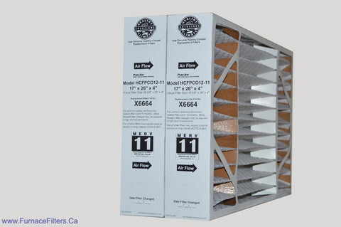 Lennox X6664 Furnace Filter 17x26x4 Healthy Climate MERV 11 for PCO-12C. Package of 2.
