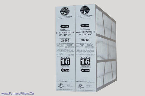 Lennox X6666 Furnace Filter 17x26x4 Healthy Climate MERV 16 for PCO-12C. Package of 2