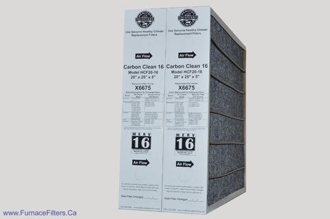 Lennox X6675 Furnace Filter 20x25x5 Healthy Climate Carbon Clean MERV 16 for Model HCF20-16. Package of 2