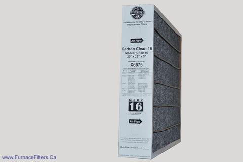 Lennox X6675 Furnace Filter 20x25x5 Healthy Climate Carbon Clean MERV 16 for Model HCF20-16. Package of 1