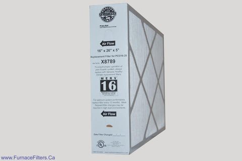 Lennox X8789 Furnace Filter 16x26x5 Healthy Climate MERV 16 for PC016-28 PureAir System Package of 1.