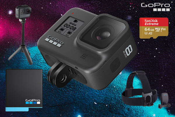 GoPro HERO 8 Black + Shorty + Head Strap + Spare Battery + 32GB Memory Card.  Cameratek