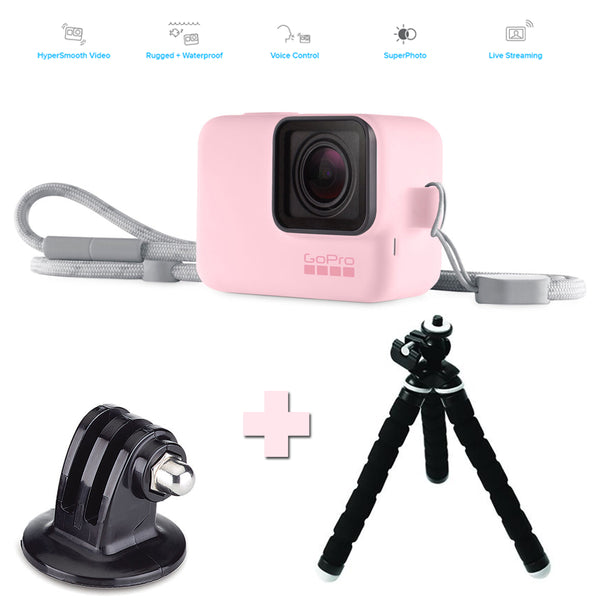 GoPro HERO7 Black | Pink Bundle | Pink Lanyard + Tripod Mount + WHO Tri-Arm XL Tripod