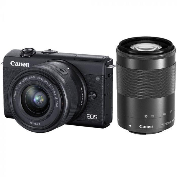 Canon EOS M200 Mirrorless Camera with 15-45mm and 55-200mm Lenses (Black)-Cameratek