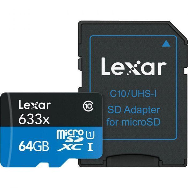 Lexar 64GB microSDXC 633x 95MB/s UHS-I Memory Card with SD Adapter-Cameratek