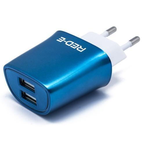 RED-E Dual USB Wall Charger Blue-Cameratek