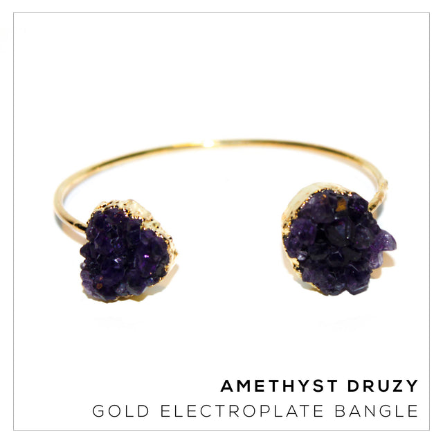 Amethyst Druzy Gold Bangle