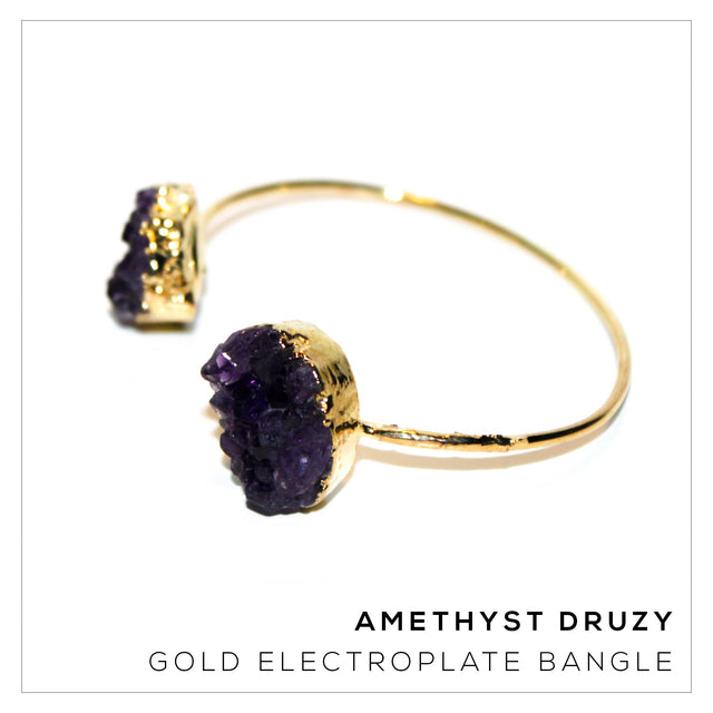 Amethyst Druzy Gold Bangle Right Side