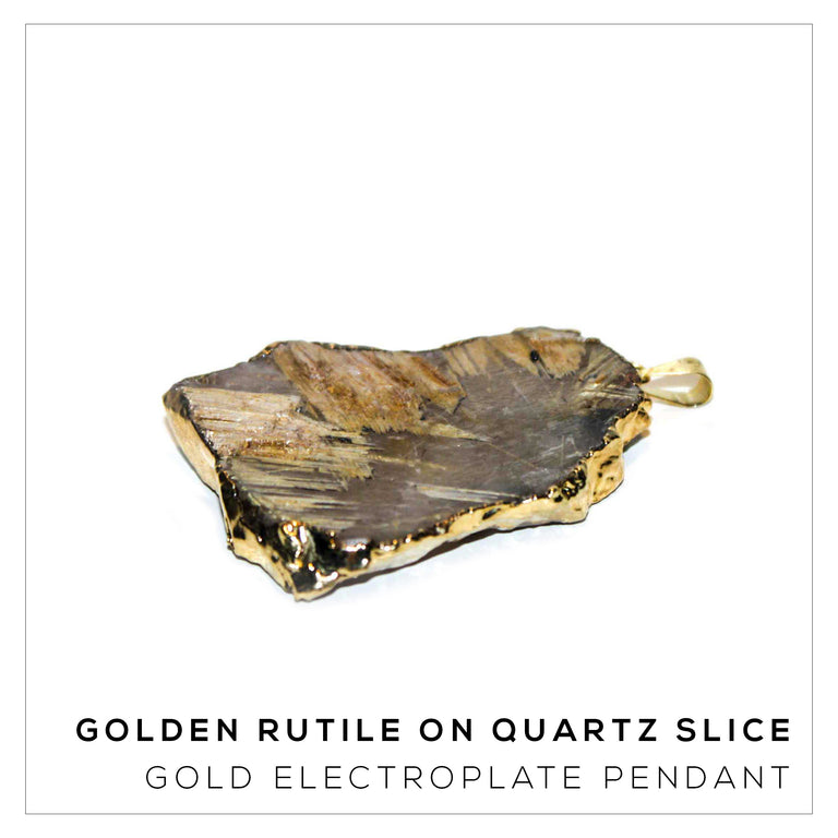 Golden Rutile on Quartz Slice Large
