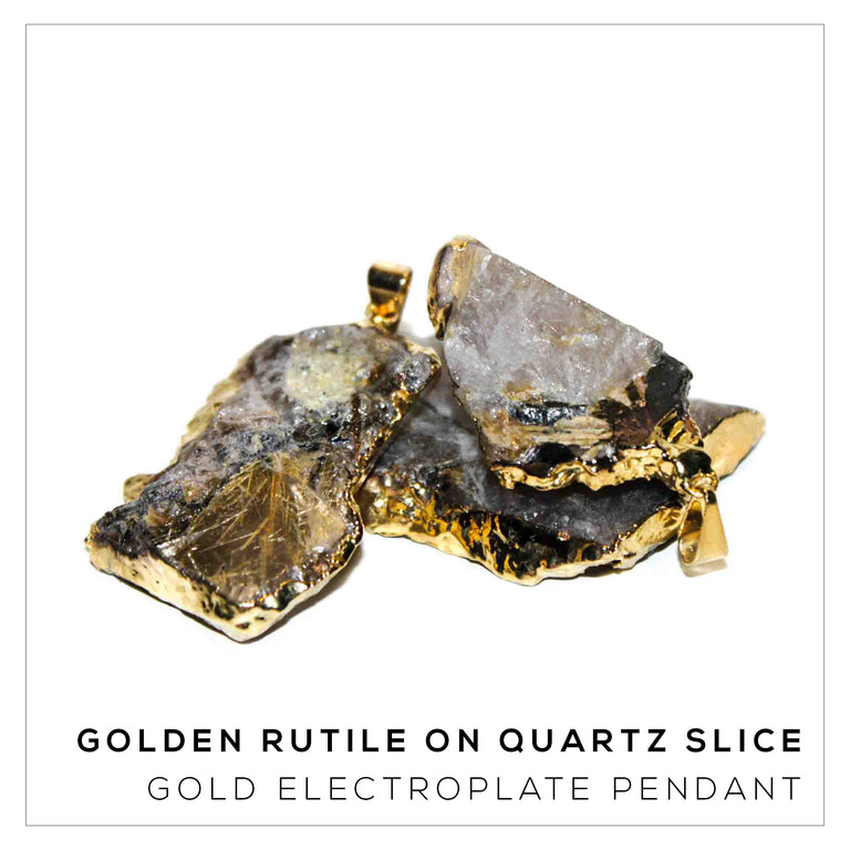 Golden Rutile on Quartz Slice Variety