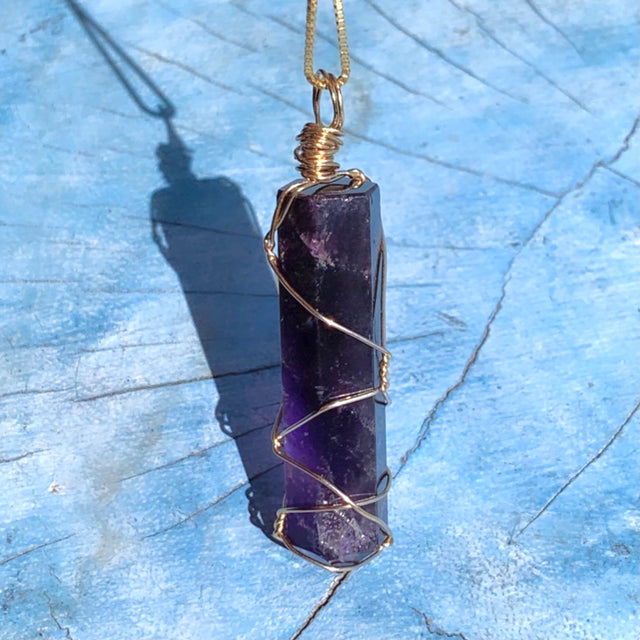 Dark Amethyst Wire Wrapped Gold pendant necklace