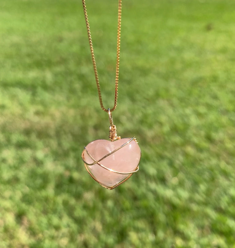 Mini Rose Quartz Gold Wire Wrapped Heart Pendant