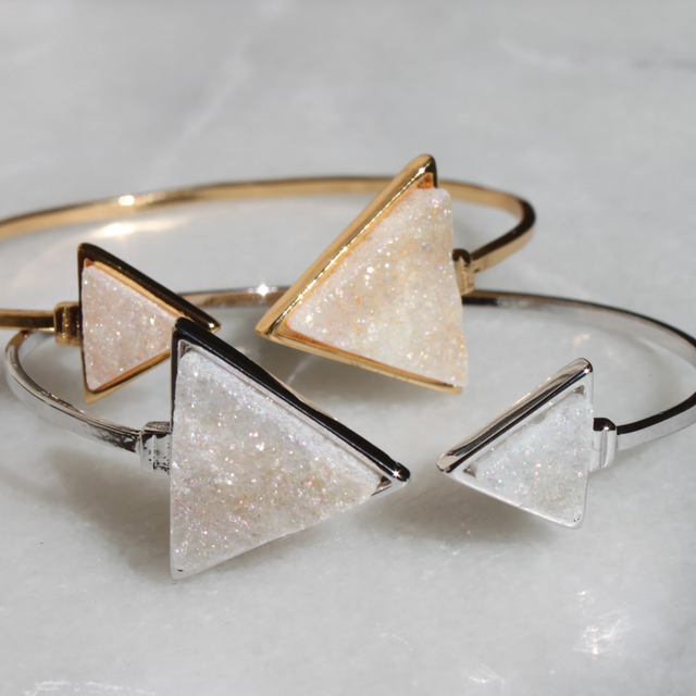 Triangle Angel Aura Druzy Quartz Bangle