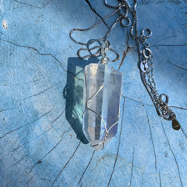 Angel Aura Quartz Sterling Silver Wire Wrapped Pendant