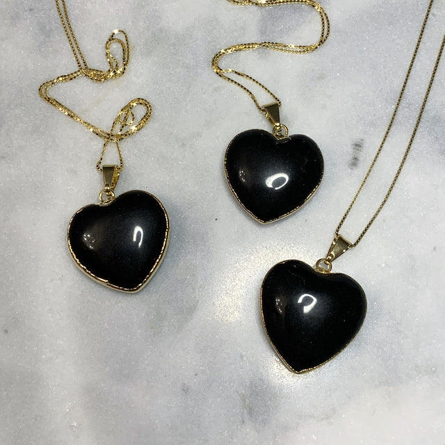 Black Obsidian Heart Pendant Gold