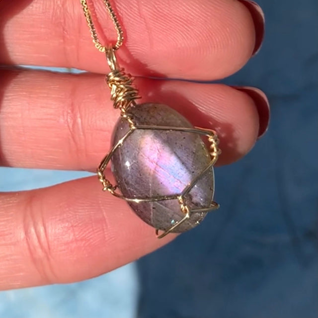 Purple Labradorite gold wire wrapped Pendant Necklace