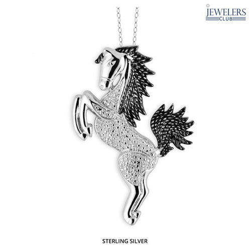 0.01ctw Genuine Diamond Horse Pendant Necklace Sterling Silver - Area 399 Hachune Rage