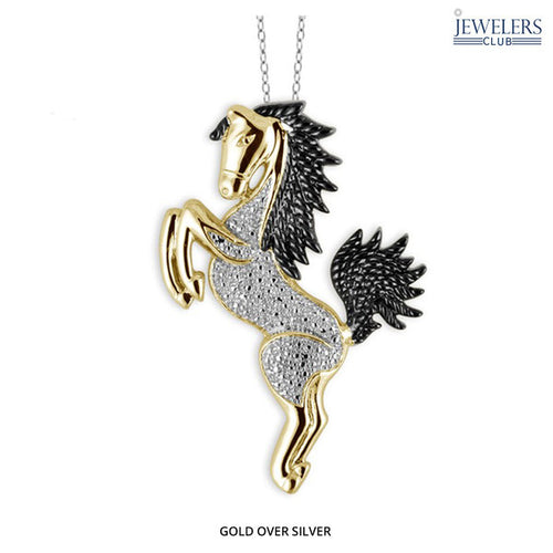 0.01ctw Genuine Diamond Horse Pendant Necklace Gold Plated Silver - Area 399 Hachune Rage