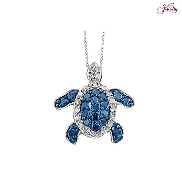 0.5ctw Genuine Blue & White Diamond Turtle Pendant Necklace in Sterling Silver - Area 399 Hachune Rage