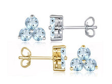 Load image into Gallery viewer, 1.4ctw Genuine Aquamarine Triplette Dolci Earrings - Area 399 Hachune Rage