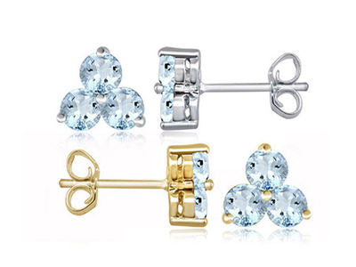 1.4ctw Genuine Aquamarine Triplette Dolci Earrings - Area 399 Hachune Rage