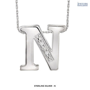 """Choose Your Letter Alphabet"" Custom Necklace in Sterling Silver - Assorted Finishes - Area 399 Hachune Rage"