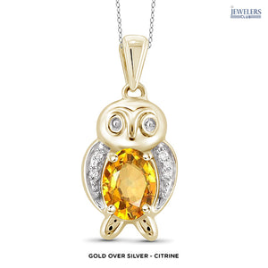 Owl Pendant Necklace - Gold over Silver - Citrine - Area 399 Hachune Rage