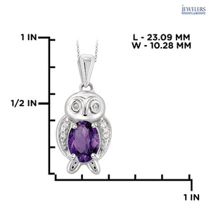 Owl Pendant Necklace - Gold over Silver - Amethyst - Area 399 Hachune Rage