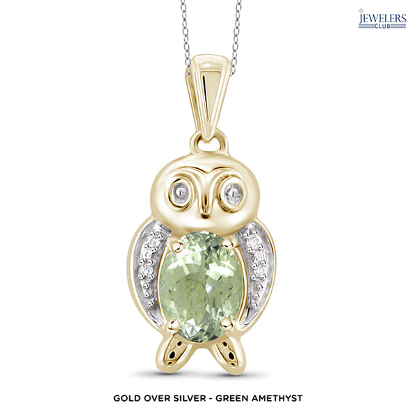 Owl Pendant Necklace - Gold over Silver - Green Amethyst - Area 399 Hachune Rage