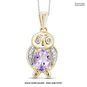 Owl Pendant Necklace - Gold over Silver - Pink Amethyst - Area 399 Hachune Rage