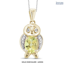 Load image into Gallery viewer, Owl Pendant Necklace - Gold over Silver - Lemon - Area 399 Hachune Rage