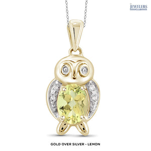 Owl Pendant Necklace - Gold over Silver - Lemon - Area 399 Hachune Rage