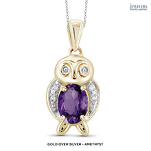 Load image into Gallery viewer, Owl Pendant Necklace - Gold over Silver - Amethyst - Area 399 Hachune Rage