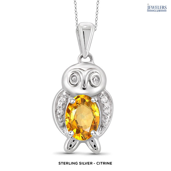 Owl Pendant Necklace - Sterling Silver - Citrine - Area 399 Hachune Rage