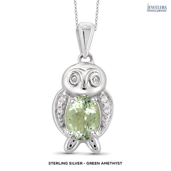 Owl Pendant Necklace - Sterling Silver - Green Amethyst - Area 399 Hachune Rage