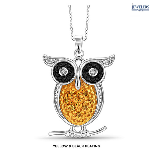 1/10 Carat Total Weight Genuine Diamond Owl Pendant Necklace Sterling Silver Yellew & Black Plating - Area 399 Hachune Rage