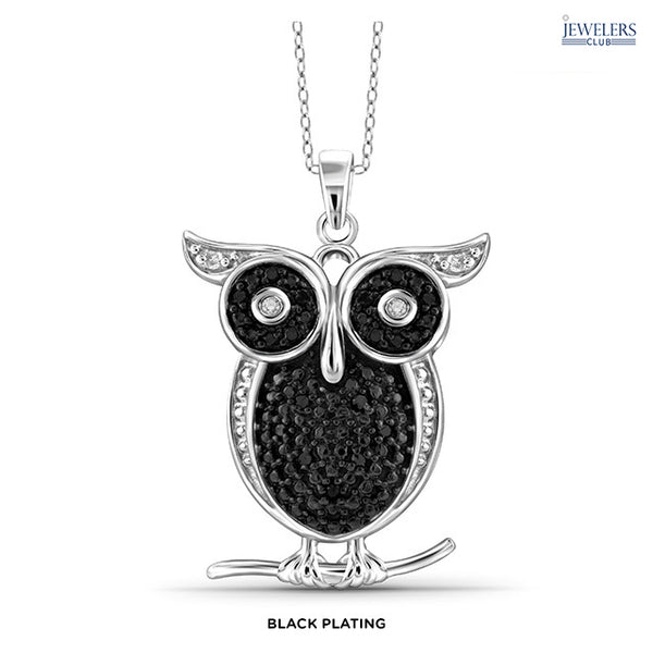 1/10 Carat Total Weight Genuine Diamond Owl Pendant Necklace Sterling Silver Black Plating - Area 399 Hachune Rage