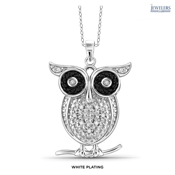 1/10 Carat Total Weight Genuine Diamond Owl Pendant Necklace Sterling Silver White Plating - Area 399 Hachune Rage