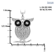 Load image into Gallery viewer, 1/10 Carat Total Weight Genuine Diamond Owl Pendant Necklace Sterling Silver White Plating - Area 399 Hachune Rage