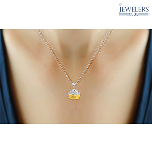 Genuine Diamond Accent Cupcake Cutie Pendant Necklace in Two-Tone Sterling Silver - Area 399 Hachune Rage