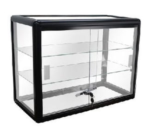 PROFESSIONAL DISPLAY CASE: Elegant Black Aluminum Display Table Top Tempered Glass Show Case. Sliding Glass Doors with Lock - Area 399 Hachune Rage