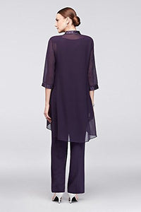 David's Bridal Chiffon Three-Piece Pantsuit with High-Low Jacket Style 24799, Eggplant, 18 - Area 399 Hachune Rage