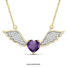 Load image into Gallery viewer, 0.6ct Genuine Amethyst & 1/7ctw Diamond Angel Wing Gold Over Silver - Area 399 Hachune Rage
