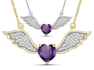 0.6ct Genuine Amethyst & 1/7ctw Diamond Angel Wing Gold Over Silver - Area 399 Hachune Rage