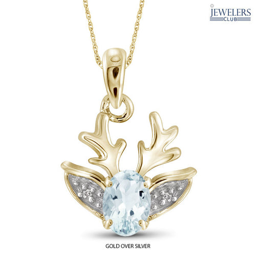 0.4 Carat Genuine Aquamarine & Diamond Accent Reindeer Pendant in Sterling Silver - Assorted Finishes - Area 399 Hachune Rage