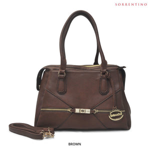 Sorrentino No. 781 Spacious 3-Compartment Satchel with Removable Strap - Assorted Colors - Area 399 Hachune Rage