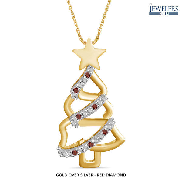 Christmas Tree Pendant Necklace Gold over Silver - Red Diamond - Area 399 Hachune Rage