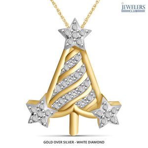 Christmas Tree Pendant Necklace Gold over Silver - White Diamond - Area 399 Hachune Rage