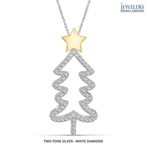 Christmas Tree Pendant Necklace Two Tone Silver - White Diamond - Area 399 Hachune Rage