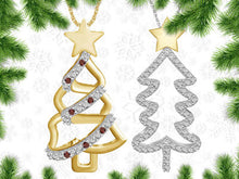Load image into Gallery viewer, Christmas Tree Pendant Necklace Gold over Silver - Red Diamond - Area 399 Hachune Rage